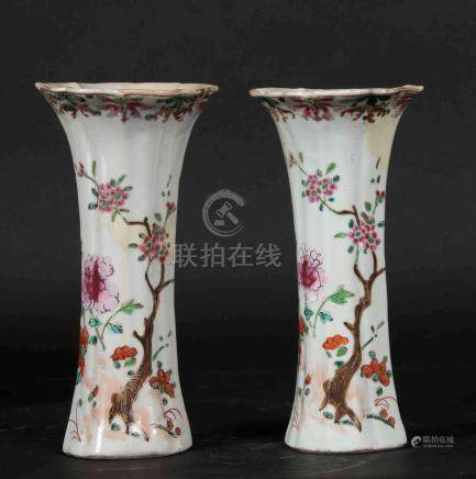 A pair of Pink Family porcelain trumpet vases wth floral decorations, China, Qing Dynasty, Qianlong epoque (1736-1796)
