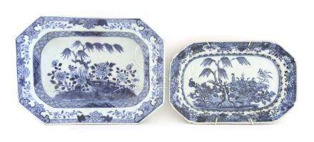 A Chinese blue and white rectangular platter,18th century, painted with shrubs in a rocky garden,