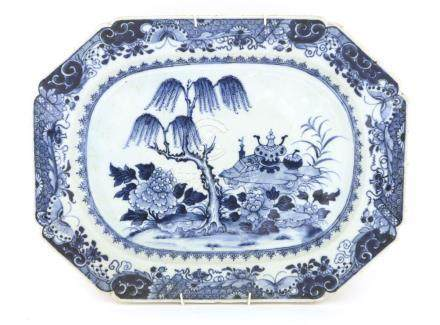 A Chinese blue and white rectangular platter,18th century, painted with a table and garden,36.5cm