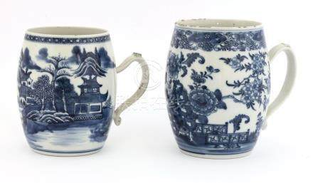 Two Chinese blue and white tankards,18th century, of barrel form, one painted with a watery