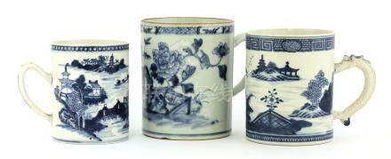 Three Chinese blue and white tankards,18th century, of cylindrical shape, two painted with watery