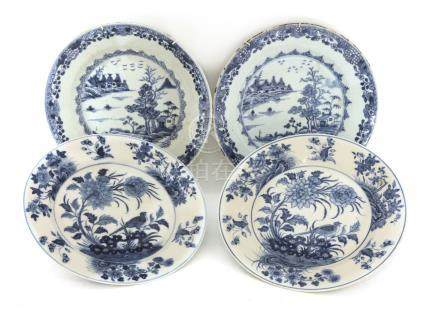 Two pairs of Chinese blue and white plates,18th century, one pair painted with watery landscape,
