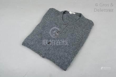 HERMES Paris made in Scotland *Gilet en jersey 100% cachemire chiné gris, encol