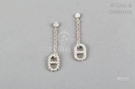HERMES Paris made in France *Paire de pendants d'oreille pour oreilles percées