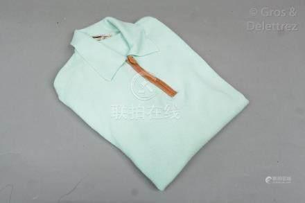 HERMES Paris made in France Pull en jersey 100% cachemire céladon, petit col su