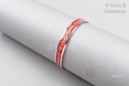 """HERMES Paris made in Austria *Bracelet jonc """"Chaîne d'Ancre"""" en métal argenté p"""