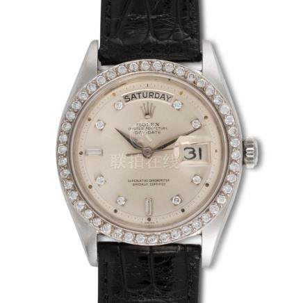 Rolex – Day-Date, ref. 1804, platinum and diamond bezel, dia
