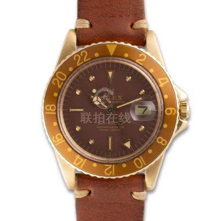 Rolex – GMT-Master, ref. 1675, yellow-gold with Rolex box &