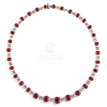 Spectacular not heated Approx. 58 carats BurmA ruby and diam