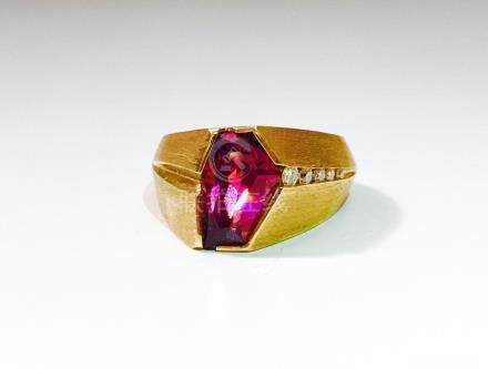 14K Yellow Gold, Fancy Cut Rubellite and Diamond Ring.