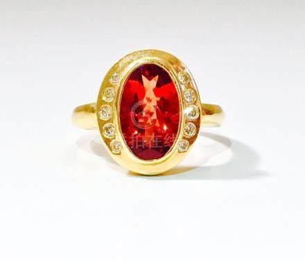 14K Gold, 4.50 Ct Hessonite Garnet and Diamond Ring