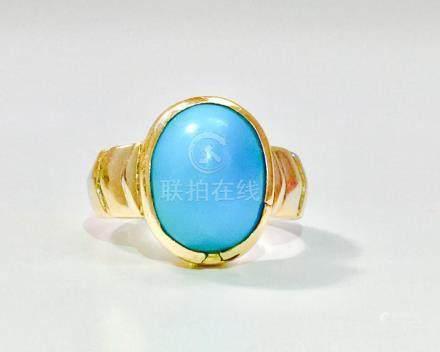 14K Yellow Gold, 6.00 Carat Turquoise Ring
