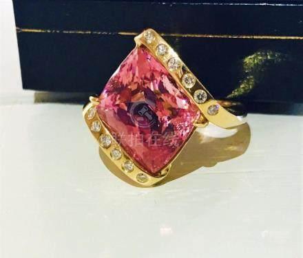 14k Gold Pink Tourmaline and Diamond Ring