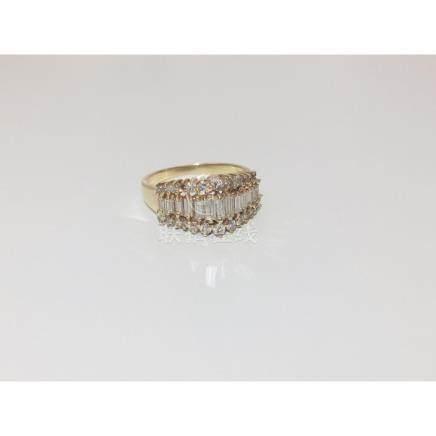 14K Yellow Gold, 1ct VS - F Diamond Ring
