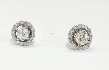 14K Gold, 1.30 TCW old mine cut diamond stud earrings