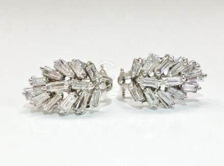 14K Gold, 4.20 Carat G color Diamond Earrings