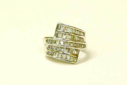14K White Gold and Baguette Diamond Cocktail Ring