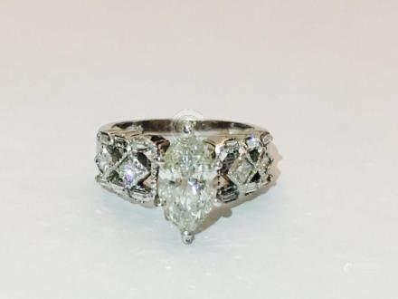 14K Gold, 2.35 CARAT Diamond Engagement Ring Certified