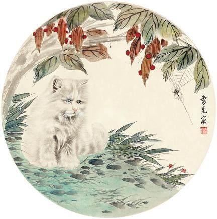 曹克家  貓團扇