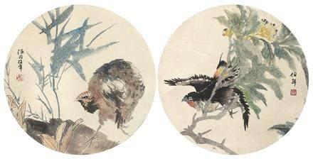任伯年  花鳥團扇二挖