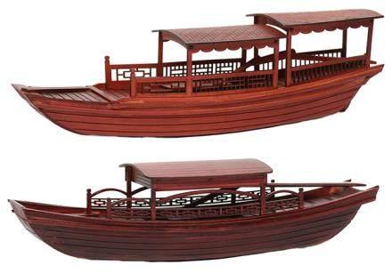 硬木西湖遊船模型二件 (全新、附原裝盒)