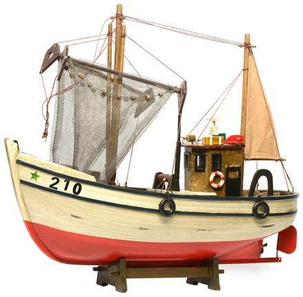 硬木漁船模型 (全新) 連木座