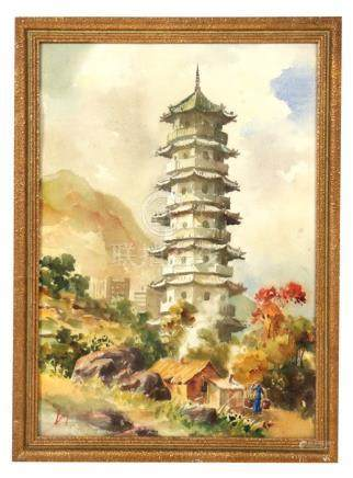 Ling (Chinese School) - Pagoda with Figure in the Foreground - signed lower left, watercolour,