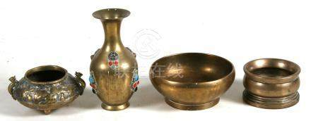 A polished bronze censer or bowl, 13cms (5ins) diameter; together with another bronze bowl, 9cms (