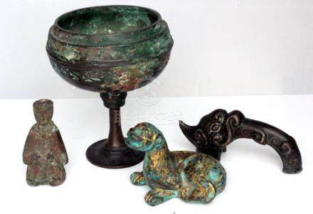 Antiquities. A Chinese bronze stem cup; together with a gilded bronze recumbent panther; a silver
