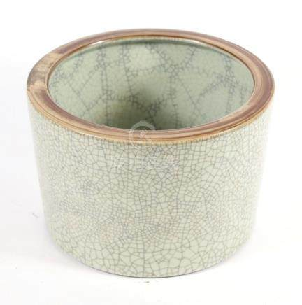 A large Chinese celadon crackle glaze planter or brush washer, 29.5cms (11.5ins) diameter.