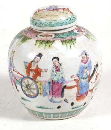 A 19th century Chinese famille rose ginger jar decorated with figures in a landscape, 17.5cms (7ins)