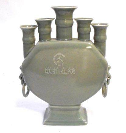 A Chinese celadon glaze five spout vase, 29cms (11.5ins) high.