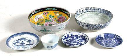 A Chinese famille rose bowl ; together with a group of Chinese blue & white ceramics.