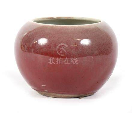 A Chinese peach bloom glazed brush washer with three-character incised mark and six-character blue