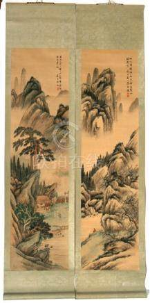 Two Chinese scroll paintings depicting figures in mountainous landscapes, Li Mo Xiang, 29 by