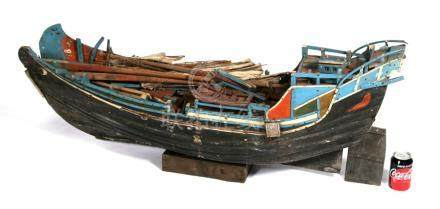 A huge early 20th century model of a Chinese three masted wooden junk with sails. 120cms (47.