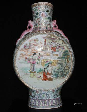 A Chinese famille rose moon flask decorated with figures in a landscape, red 20th century Republic