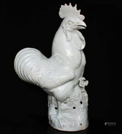 A large 19th / 20th century Chinese pale green glazed cockerel, 41.5cms (16.25ins) high.