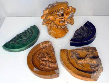 A group of Chinese Ming dynasty roof tile fragments, reputedly from the old Summer Palace, collected