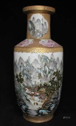 A Chinese Republic vase decorated with a mountainous village scene and calligraphy, with cloud