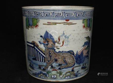 A 19th century Chinese famille verte Bitong brush pot decorated with a Qilin, 21.5cms (8.5isn)