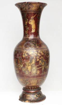 A 19th century Chinese lacquer on wood vase decorated with gilded figure in a landscape, 32cms (12.