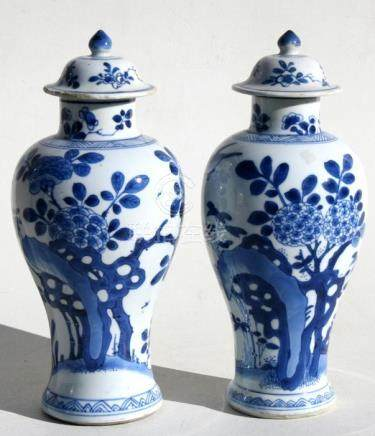 A pair of Chinese Kangxi vases & covers decorated with birds and foliage, 25cms (9.75ins) high.