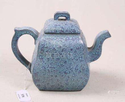 A Chinese Yixing pottery teapot with mottled blue glaze, impressed seal mark to underside, 16cms (
