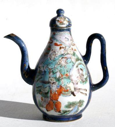 A 19th century Chinese wine pot & cover decorated with warriors on a blue ground with gilt