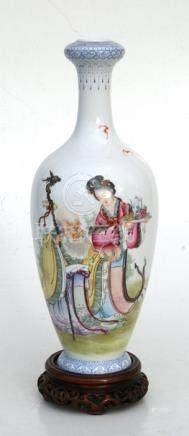 A Chinese Republic vase on stand decorated with Shoulau and an attendant and calligraphy, seven-