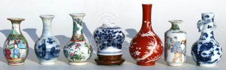 A group of Chinese blue & white and Canton Export miniature vases, the largest 11cms (4.25ins)
