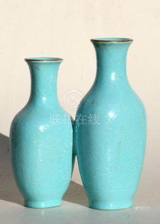 A Chinese Republic turquoise glazed double vase with red seal mark to underside, 18cms (7ins) high.