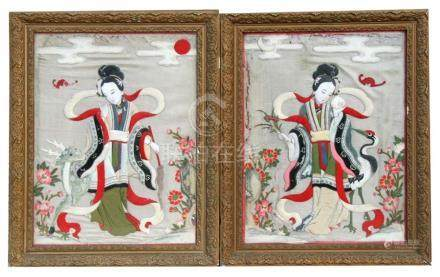 A pair of 19th century Chinese textile padded pictures depicting robed ladies with a crane and a