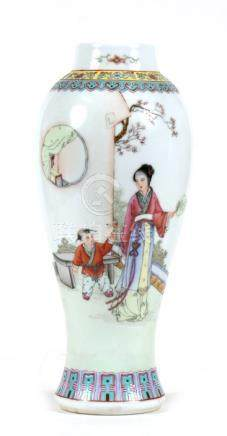 A Chinese Republic vase decorated figures and calligraphy. 26cm (10.25 ins) high